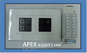 Apex Remote Controlled Touch Switch Board For 4 Lights & 1 Fan