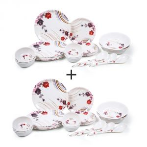 Deemark Combo Pack Of 24 Pic Dinner Set-flower Print-1004