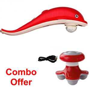 Deemark Combo Of Red Dolphin Massager With Mini Massager