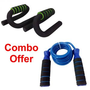 Gym Equipment (Misc) - Deemark Push Up Bars With Skipping Rope Combo Pack