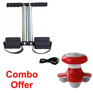 Deemark Combo Of Tummy Trimmer With Mini Massager