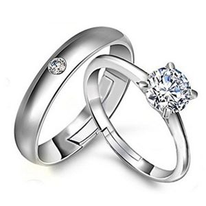 triveni,platinum,port,mahi,tng Rings (Imitation) - Mahi Rhodium Plated Solitaire Couple Ring Set With Cubic Zirconia and Crystal Stones (Code - FRCO1103031R)
