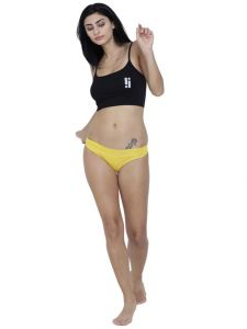 Sukkhi,Surat Diamonds,The Jewelbox,Asmi,Soie,Gili,Estoss,Oviya,La Intimo Women's Clothing - Yellow Basiics By La Intimo Women's Amor Love Semiseamless Panty - ( Code -BCPSS02YW0 )