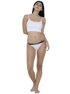 triveni,my pac,clovia,cloe,bagforever,tng,la intimo,hoop,oviya,surat tex,avsar,the jewelbox Apparels & Accessories - White Basiics By La Intimo Women's Caliente Hot Thong Panty - ( Code -BCPTH01WE0 )