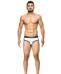 Basiics - Modern Pattern White Briefs - (code - Bcsbr07we0 )