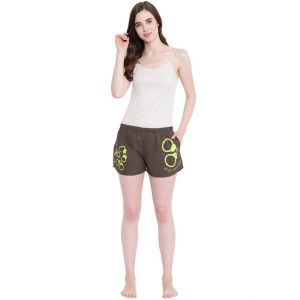 Soie,See More,La Intimo,Jpearls,Surat Tex,Lime,Estoss,Asmi Women's Clothing - La Intimo Binge Boxers Handcuffs Olive shorts - ( Code - BOLIF005OV0 )