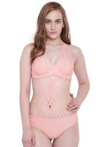 Vipul,Surat Tex,Avsar,Kaamastra,Lime,Platinum,Shonaya,The Jewelbox,La Intimo,Parineeta,Triveni Women's Clothing - La Intimo Flirty Shower Monokini Light Peach Resort/Beach Wear - ( Code - LIF1P004SR0 )