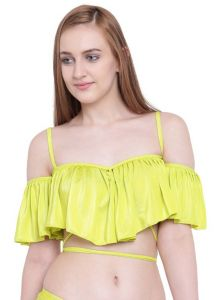 La Intimo Women's Clothing - Fluorescent Green La Intimo Ruffle Buffle Cold Shoulder Bra - ( Code -LIFBR007LP0 )