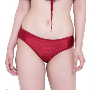 Soie,Port,Arpera,The Jewelbox,Mahi,Jharjhar,Mahi Fashions,La Intimo Women's Clothing - Maroon La Intimo Ruffle Buffle Panty Resort/Beach Wear - ( Code -LIFPY007MN0_S) S, Maroon