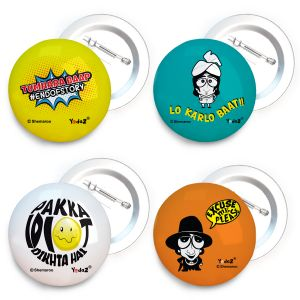 Travel luggage tags - Yedaz Bollywood Badge with Safety-Pin Back Lo karlo baat - Excuse me - Pakka Idiot - Tumhara baap