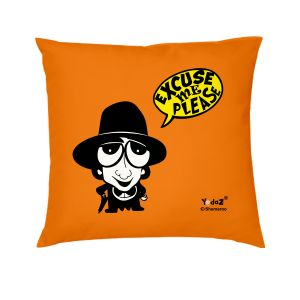 Yedaz Satin Filled With Polyfibre 16x16 Orange Bollywood Cushion - Excuse Me