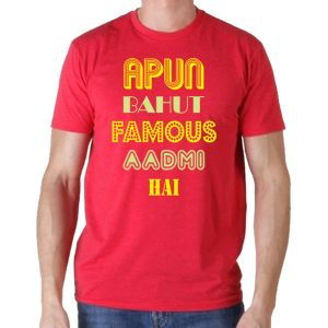 Yedaz Unisex Bollywood Red Round Neck Half Sleeve T Shirt -apun Bahut Famous Aadmi Hai (code - Tsrh2re1)