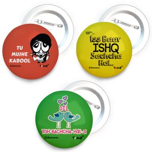 Travel luggage tags - Yedaz Bollywood Badge with Safety-Pin Back Tu Mujhe kabool, Dil toh Bachcha, Ishq Sachcha Hai