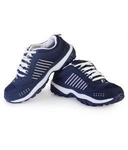 Sport Shoes (Men's) - Binqo Sports Cool Air Deep Blue and White Running Shoes