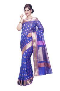 Sudarshan Silks Cotton Sarees - Sudarshan silks SUDARSHAN NEW DESIGNER SILK COTTON SAREE-Blue-AS1383-VT-Silk Cotton