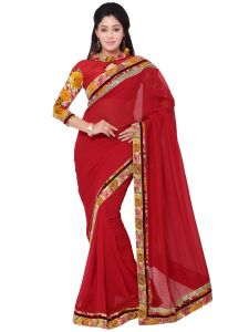 Indian Womwn Fashions Red Color Georgette Jacquard Floral Print Saree (code - Inwga20011-mm)