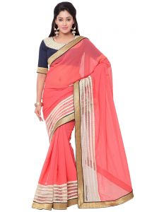 Indian Women Fashions Pink Color Georgette Cut Paste Designer Saree (code - Inwga20015-mm)