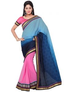 Indian Women Fashions Contrast Multi Color Silk Jacqueard And Georgette Half Saree (code - Inwga20016-mm)