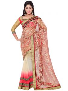 Indian Women Fashions Pink And Beige Contrast Color Rasal Net And Georgette Half Half Saree (code - Inwga20020-mm)