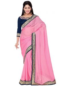 Indian Women Fashions Pink Color Crepe Jacquard Designer Wear Saree (code - Inwga20023-mm)