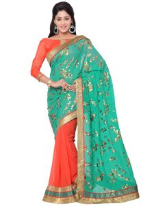 Indian Women Fashions Green And Orange Contrast Color Georgette Party Wear Saree (code - Inwga20024-mm)