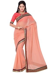 Indian Women Fashions Pink Color Georgette Less Border Designer Saree (code - Inwga20029-mm)