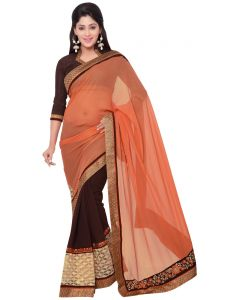 Indian Women Fashions Orange And Brown Colr Georgette And Rasal Net Half Saree (code - Inwga20034-mm)