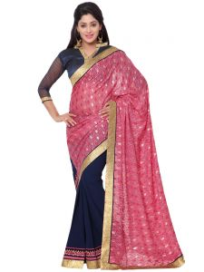 Sudarshan Silks Sarees (Misc) - Indian Women Fashions Contrast Pink And Violet Color Brasso And Georgette Half Saree (Code - Inwga20035-Mm)