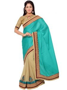 Indian Women Crepe Jacquard Green And Beige Color Saree (code - Inwga20107-mm)