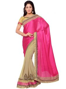Indian Women Satin Chiffon Pink And Beige Color Saree (code - Inwga20109-mm)