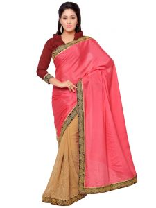 Indian Women Satin Chiffon Pink And Beige Color Saree (code - Inwga20113-mm)