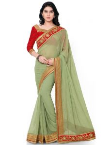Indian Women Georgette Green Color Full Saree Sari (code - Inwga20213-mm)