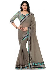 Indian Women Georgette Grey Color Full Saree Sari (code - Inwga20218-mm)