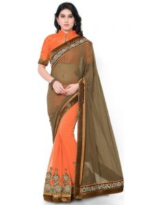 Indian Women Georgette And Georgette Olive Color Half Saree (code - Inwga20219-mm)
