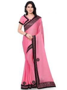 Indian Women Satin Chiffon Pink Color Full Saree Saree (code - Inwga20225-mm)