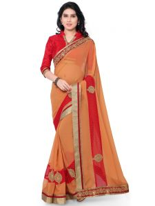 Indian Women Georgette Orange Color Full Saree Sari (code - Inwga20229-mm)