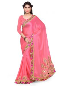 Indian Women Pink Color Moss Chiffon Saree (code - Inwga20346-mm)