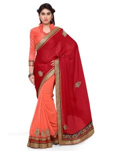 Indian Women Red And Orange Color Satin Chiffon Saree (code - Inwga20362-mm)