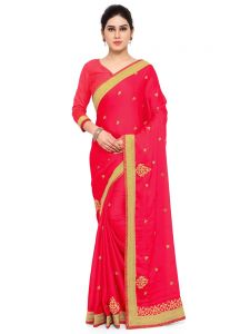 Indian Women Dark Pink Color Satin Chiffon Saree (code - Inwga20421-mm)