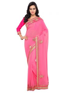 Indian Women Light Pink Color Bemberg Georgette Saree (code - Inwga20425-mm)