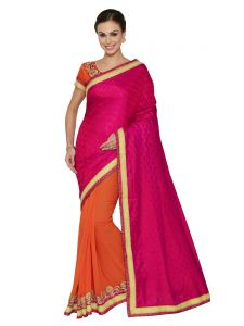 Indian Women Magenta And Orange Two Tone Jucquerd And Georgette Saree (code - Inwga20516-mm)