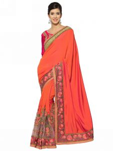 Indian Women Orange C/n And Paper Silk Saree (code - Inwht51102-mm)