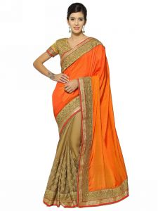 Indian Women Orange And Gold Cotting Rangoli And C/n Paper Silk Saree (code - Inwht51108-mm)