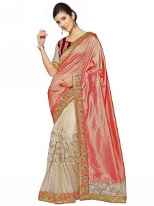 Indian Women Pink And Off White Fancy Fabrics And C/n Paper Silk Saree (code - Inwht51112-mm)