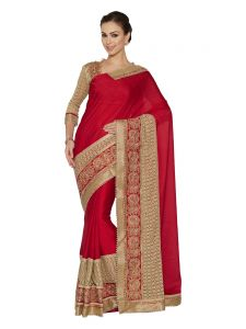 Indian Women Red And Golden Two-tone Bright Georgette And Fancy Fabrics Saree-red (code - Inwht51203-mm)