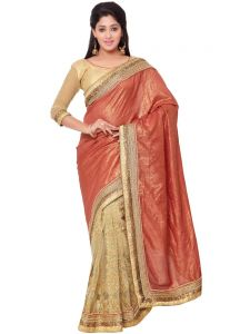 Indian Women Red And Beige Color Self Jacquard Designer Hal And Half Saree (code - Inwht70102-mm)