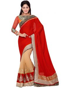Indian Women Red And Beige Color Silk Jacquard Party Wear Saree (code - Inwht70111-mm)