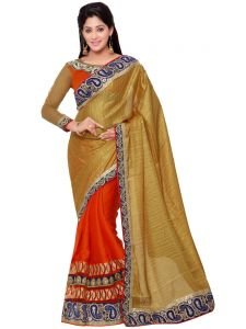 Indian Women Beige And Orange Color Silk Jacquard Traditional Saree (code - Inwht70113-mm)