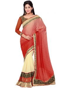 Indian Women Present You Pink And Beige Color Silk Jaquard Designer Saree. (code - Inwht70114-mm)