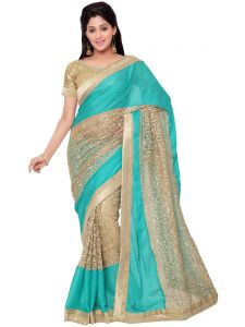 Indian Women Cyan Color Chiffon Net Designer Saree (code - Inwht70117-mm)